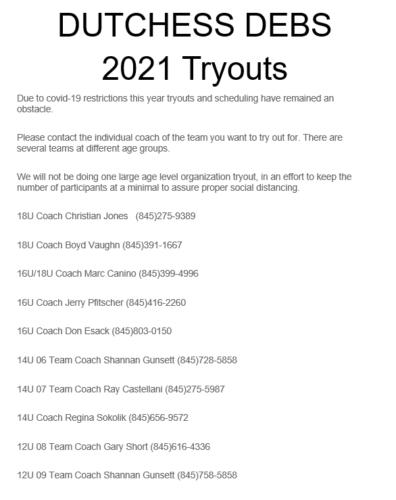 2021 Debs teams
